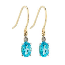 Online Exclusive - Earrings with Diamonds & Blue Topaz in 10kt Yellow & White Gold