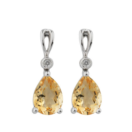 Earrings with Citrine & Diamonds in 10kt White Gold