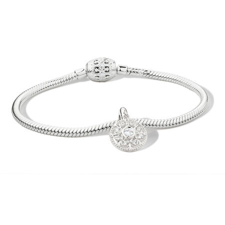 """21cm (8.5"""") Bracelet & Charm with Cubic Zirconia in Sterling Silver"""