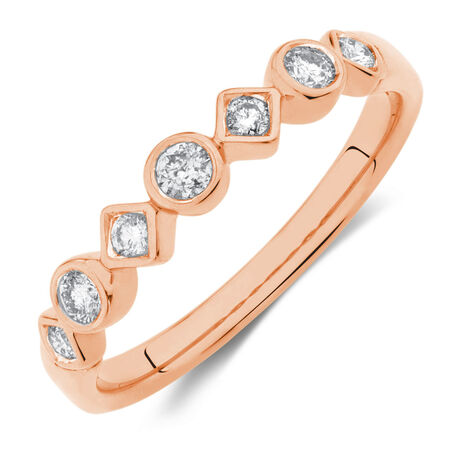 Wedding Band with 1/4 Carat TW of Diamonds in 10kt Rose Gold