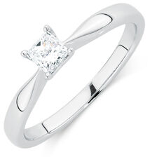 Evermore Colorless Solitaire Engagement Ring with a 1/3 Carat Diamond in 14kt White Gold