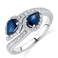 By My Side Ring with 1/6 Carat TW of Diamonds & Sapphire in 10kt White Gold