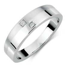 Men's Ring with Diamonds in 10kt White Gold