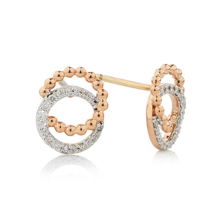 Online Exclusive - Bubble Earrings with 1/5 Carat TW of Diamonds in 10kt Rose Gold