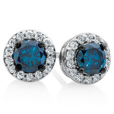 Online Exclusive - City Lights Stud Earrings with 1 Carat TW of White & Enhanced Blue Diamonds in 10kt White Gold