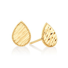 Patterned Pear Studs in 14kt Yellow Gold