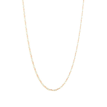 """50cm (20"""") Chain in 10kt Yellow, Rose & White Gold"""