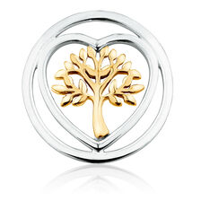 Tree of Life Coin Locket Insert in Sterling Silver & 10kt Yellow Gold
