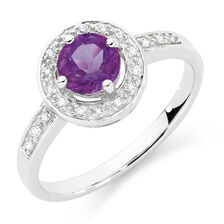 Online Exclusive - Ring with Amethyst & Diamonds in 10kt White Gold