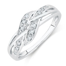 Weave Ring with Diamonds in 10kt White Gold