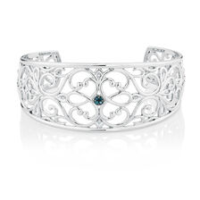 Online Exclusive - City Lights Cuff with 1/15 Carat TW of White & Enhanced Blue Diamonds in Sterling Silver
