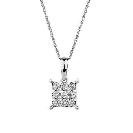 Cluster Pendant with 1/4 Carat TW of Diamonds in 10kt White Gold