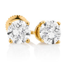 Classic Stud Earrings with 1 1/2 Carat TW of Diamonds in 14kt Yellow Gold