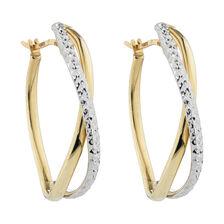 Online Exclusive - Fancy Hoop Earrings in 10kt Yellow & White Gold
