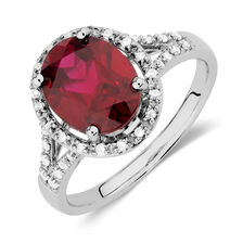 Ring with Created Ruby & 1/5 Carat TW of Diamonds in 10kt White Gold