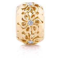 Diamond Set Daisy Charm in 10kt Yellow Gold