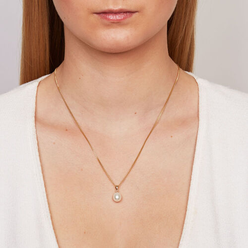 Pendant with a Cultured Freshwater Pearl in 10kt Yellow Gold