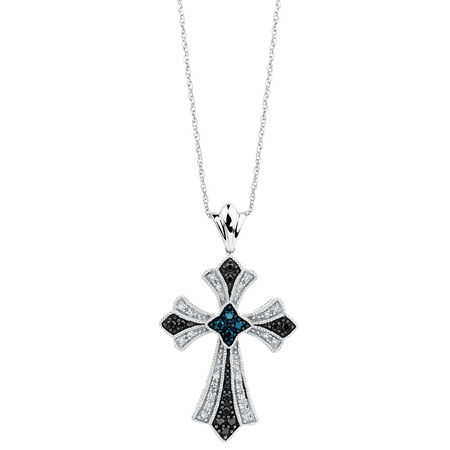 City Lights Pendant with 1/4 Carat TW of White & Enhanced Blue & Black Diamonds in Sterling Silver