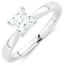 Evermore Colorless Solitaire Engagement Ring with a 3/4 Carat Diamond in Platinum