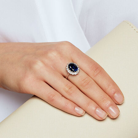 Ring with Created Blue & Created white Sapphires in Sterling Silver