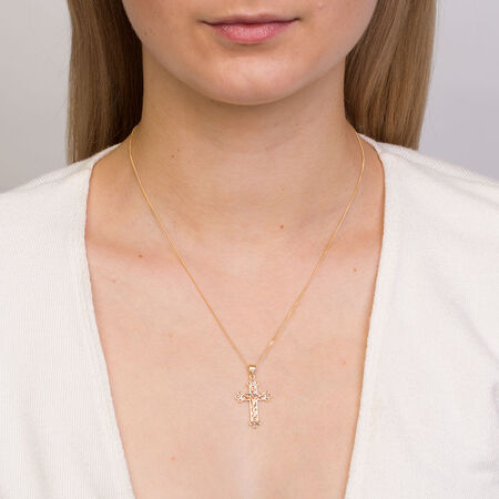 Cross Pendant in 10kt Yellow, White & Rose Gold