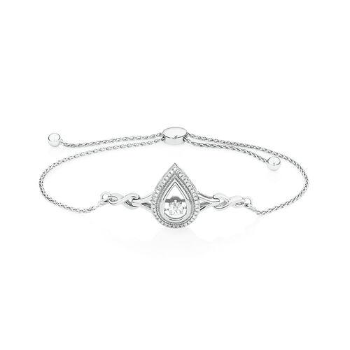 Adjustable Everlight Bracelet with Diamonds in Sterling Silver