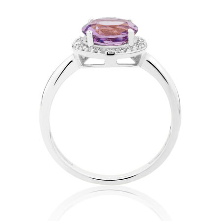 Ring with Amethyst & 1/10 Carat TW of Diamonds in 10kt White Gold