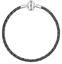 "Gray Leather Double Length 38cm (15"") Charm Bracelet"