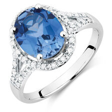Ring with Created Sapphire & 1/5 Carat TW of Diamonds in 10kt White Gold
