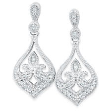 Online Exclusive - Drop Earrings with 1/6 Carat TW of Diamonds in 10kt White Gold