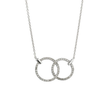 Online Exclusive - Double Cicle Pendant with 1/5 Carat TW of Diamonds in 10kt White Gold