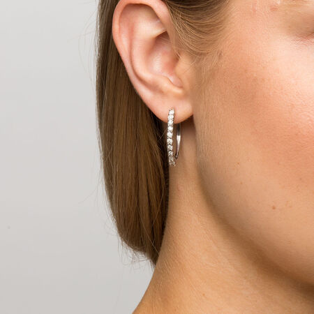 Hoop Earrings with 1/4 Carat TW of Diamonds in Sterling Silver