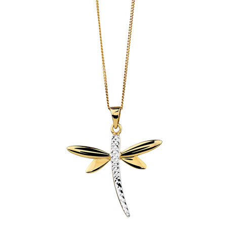 Dragonfly Pendant in 10kt Yellow & White Gold