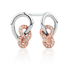 Knots Earrings with 1/6 Carat TW of Diamonds in Sterling Silver & 10kt Rose Gold