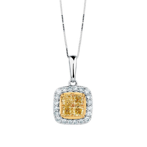Pendant with 3/8 Carat TW of White & Natural Yellow Diamonds in 10kt Yellow & White Gold
