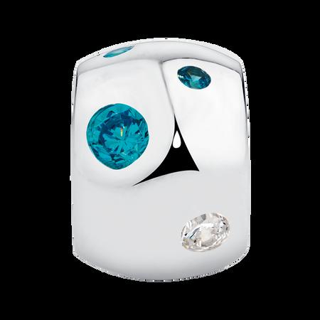 Blue & White Cubic Zirconia Charm