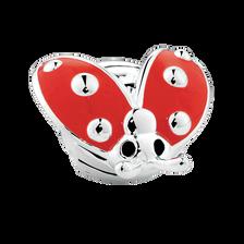 Sterling Silver & Red Enamel Ladybeetle Charm
