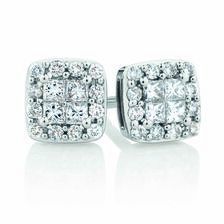 Stud Earrings with1/3 Carat TW of Diamonds in 10kt White Gold
