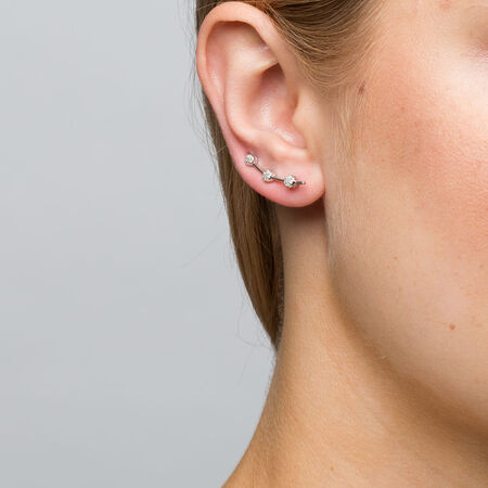 Cluster Ear Climbers with 1/6 Carat TW of Diamonds in Sterling Silver
