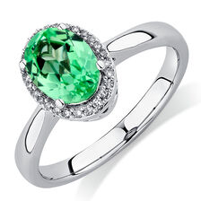 Ring with Created Green Sapphire & 1/15 Carat TW of Diamonds in 10kt White Gold