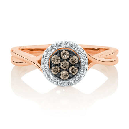 Ring with 1/4 Carat TW of White & Natural Brown Diamonds in 10kt Rose Gold