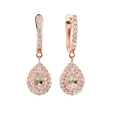 Michael Hill Designer Fashion Drop Earrings with Morganite & 1/5 Carat TW of Diamonds in 10kt Rose Gold