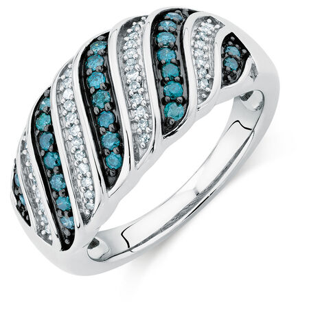 Online Exclusive - City Lights Ring with 3/8 Carat TW of White &  Enhanced Blue Diamonds in Sterling Silver