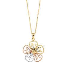 Flower Pendant in 10kt Yellow, White & Rose Gold