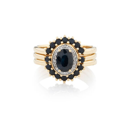 Online Exclusive - Ring with 0.18 Carat TW of Diamonds & Sapphire in 10kt Yellow Gold