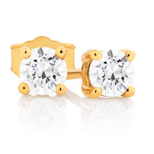 Classic Stud Earrings with 1/2 Carat TW of Diamonds in 14kt Yellow Gold