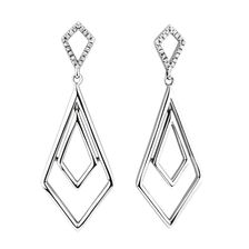 Geometric Drop Earrings with 1/15 Carat TW of Diamonds in Sterling Silver