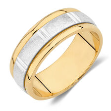 Online Exclusive - Men's Wedding Band in 10kt Yellow & White Gold
