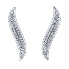 Ear Climbers with 1/10 Carat TW of Diamonds in Sterling Silver