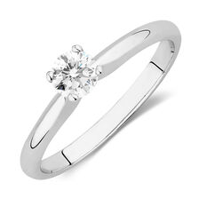 Online Exclusive - Solitaire Engagement Ring with a 1/3 Carat Diamond in 18kt White Gold